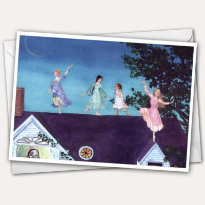 Ballet, Girls dancing on roof, Ballet on roof, four sisters, girls in dresses, girl in dress, girl with kitten, ballet greeting card.
