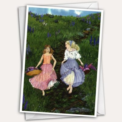 girls with lupines, girls with wildflowers, girls running in dresses, lovely little girls, peasant dresses, adorable girls, girls picking lupines, girls picking flowers, field of lupines, lupine painting, lupine greeting card, pretty greeting card, pretty birthday card