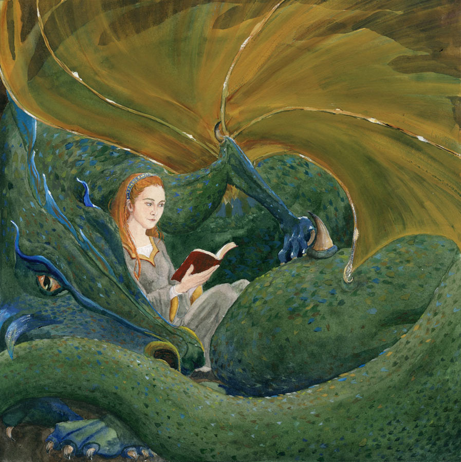 Small Print with a red haired woman in medieval gown sitting in the coils of her dragon friend. They read a red book.