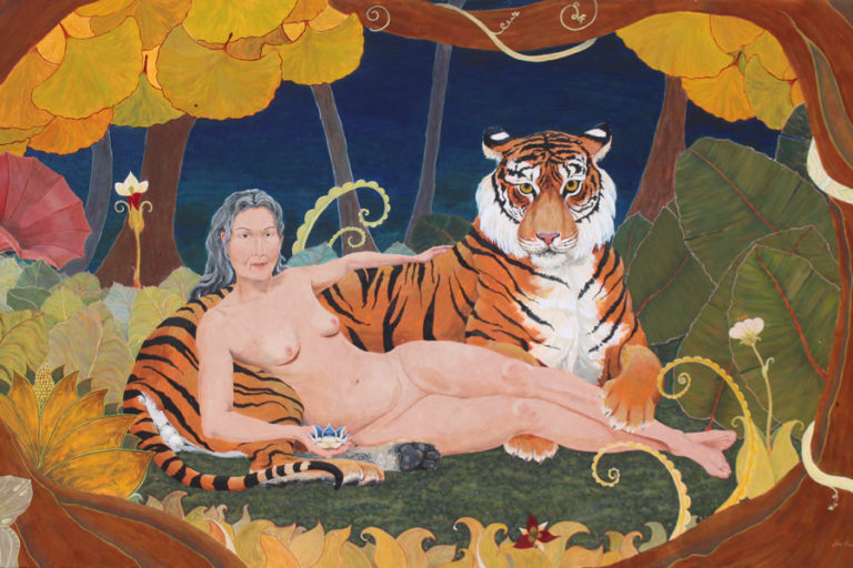 Lady and Tiger, woman with tiger, older woman nude, mature woman nude, jungle goddess, reclining nude, nude with grey hair, friendly tiger, fantasy jungle, jungle painting, feminist nude