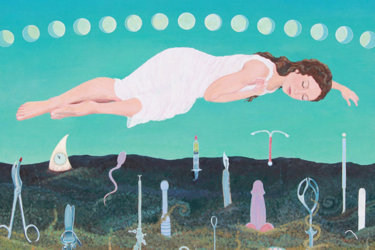 feminist art, sleeping maiden, anti-patriarchy art, cost of being female, woman's reproductive life, pregnancy, fertility, fertile woman, innocent girl, innocent maiden, innocent young woman, feminist painting, biological destiny, moon cycle