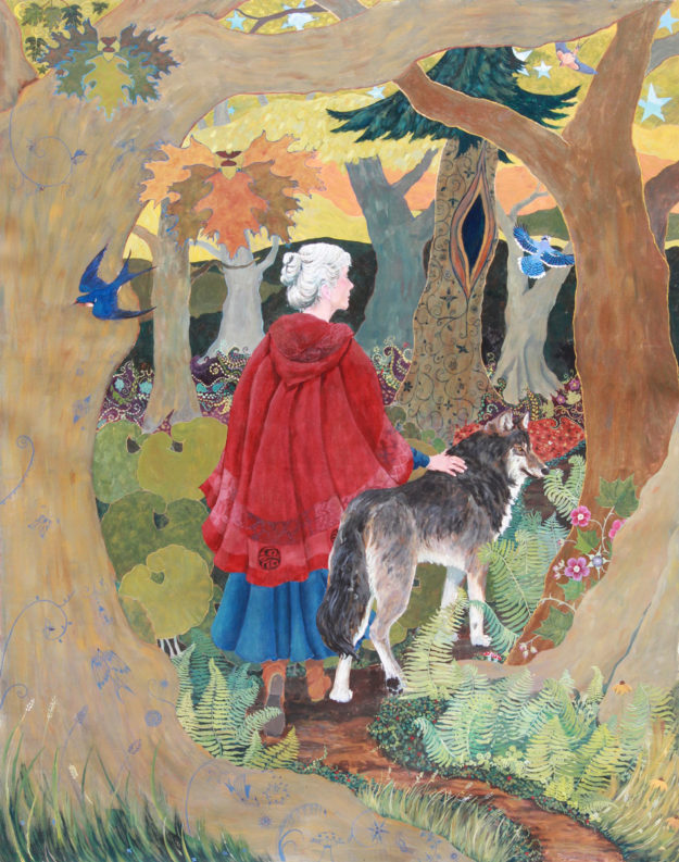Red Riding Hood Painting, Red Riding Hood grown-up, red riding hood and wolf, red riding hood with white hair, red riding hood on forest path, woman in cloak, woman and wolf walking, feminist fairy tale