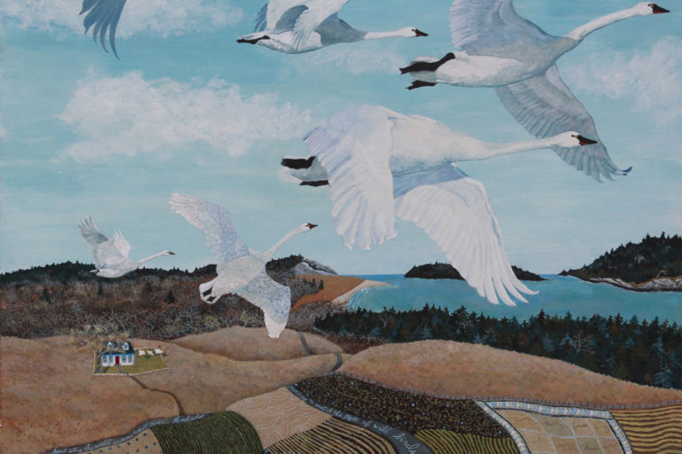 Wild Swans Poem, swans flying, patchwork swan, quilted swan, wild swan painting, aerial view of house and fields, Maine swans flying, Edna St. Vincent Millay Wild Swans,