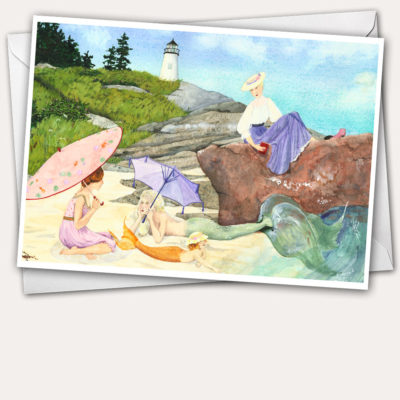 Mermaids with parasols, mermaids on the beach, mermaids near lighthouse, Pemaquid Point Lighthouse, baby mermaid, Edwardian Ladies