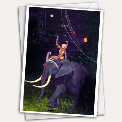 Circus elephant, elephant rider, circus greeting card, elephant greeting card, woman in turban