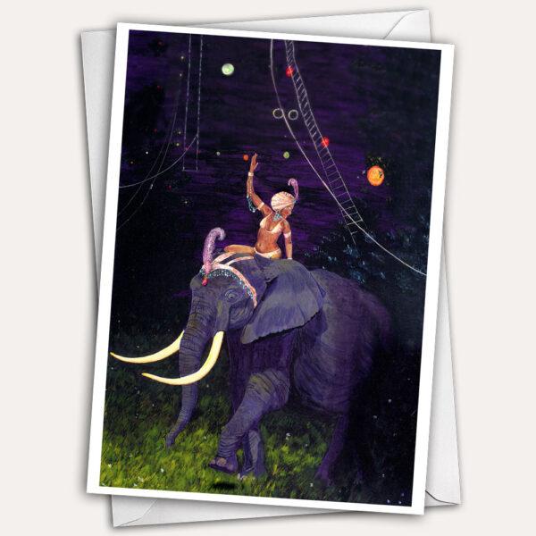 Circus elephant, elephant rider, circus greeting card, elephant greeting card, woman in turban