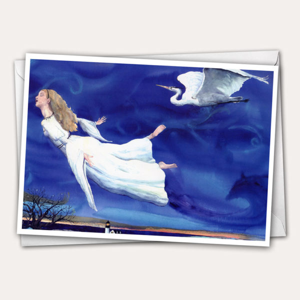 Flight dream card, angel dreaming, girl dreaming, girl sleeping, angel sleeping, bird christmas card, white heron flying