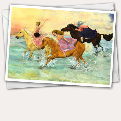 horse greeting card, horse birthday card, gypsy greeting card, horses on beach, three generations of women, Mother daughter and grandmother, horses on dawn beach, beach dawn card, gypsy women riding