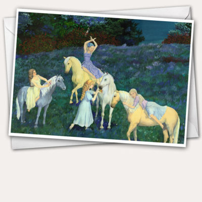 girl on horse, horse paintings, horse greeting card, girl feeding horse, girl riding horse,