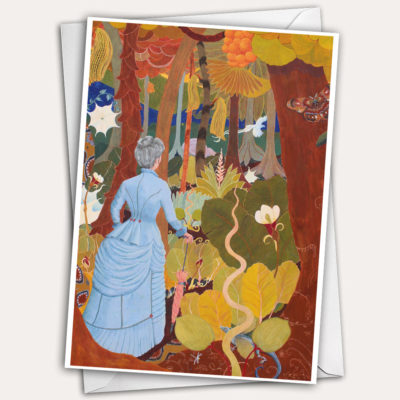 Woman in jungle, jungle greeting card, woman in bustle, grey hair, silver hair, victorian dress with bustle, woman with walking stick, woman with parasol