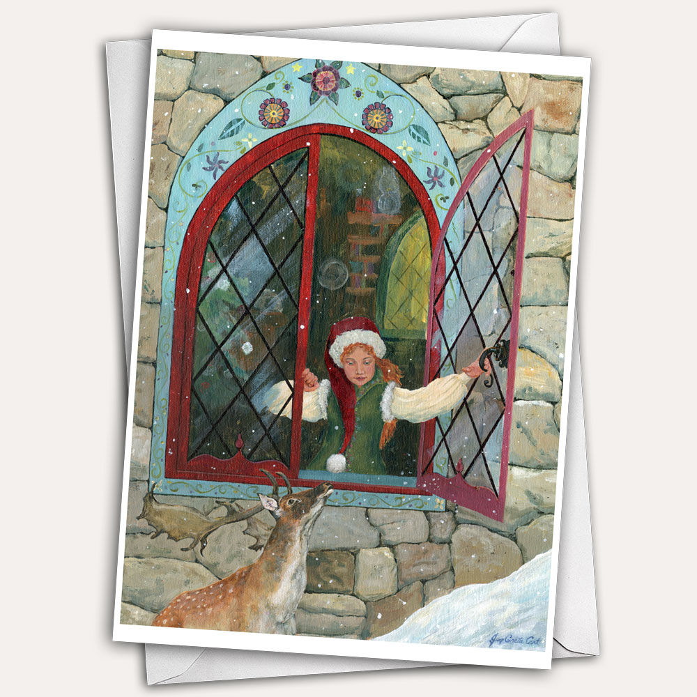Elf woman at the window of Santa's castle at the North Pole talks with her reindeer friend.