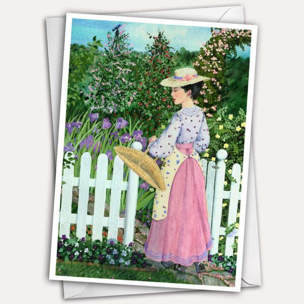 Pink dress, garden, rose arbor, edwardian valentine card, victorian valentine card, white picket fence, pretty valentine card