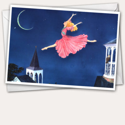 leaping woman, leaping fairy, fairy, ballet, grand jeté, New England cupola, Midsummer's Eve