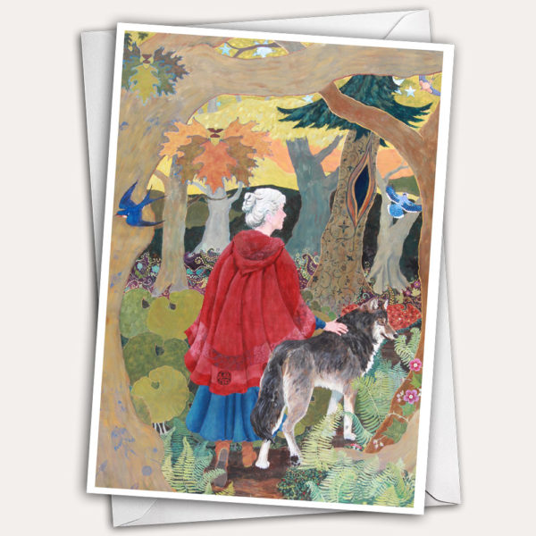 woman with wolf, woman walking, woman in forest, silver hair, red cloak, woman in cloak, little red riding hood greeting card, little red riding hood birthday card, wolf greeting card