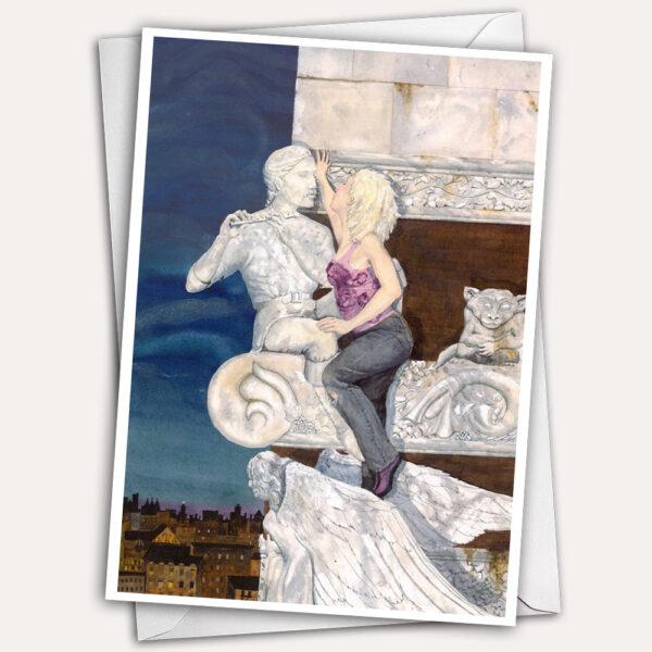 free climber, gargoyle, marble angel, stone angel, climbing woman, kiss, kissing couple, fantasy greeting card