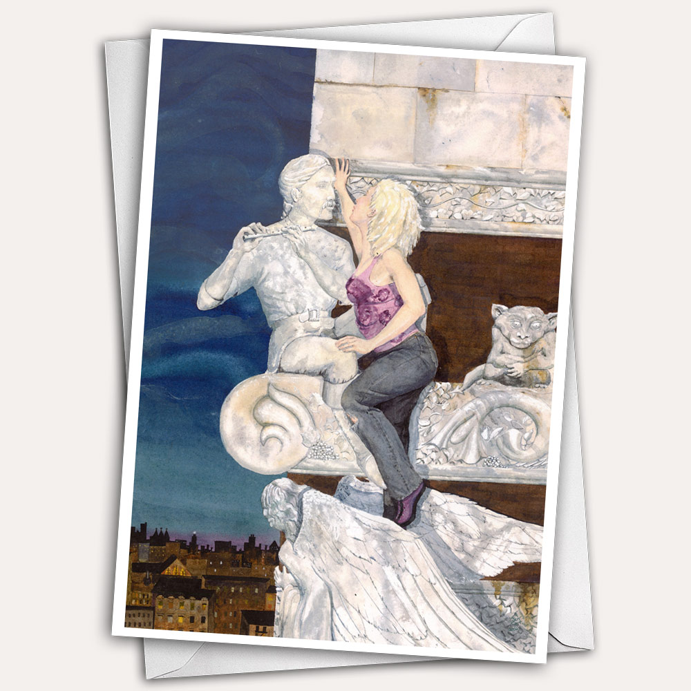 free climber, gargoyle, marble angel, stone angel, climbing woman, kiss, kissing couple, fantasy greeting card