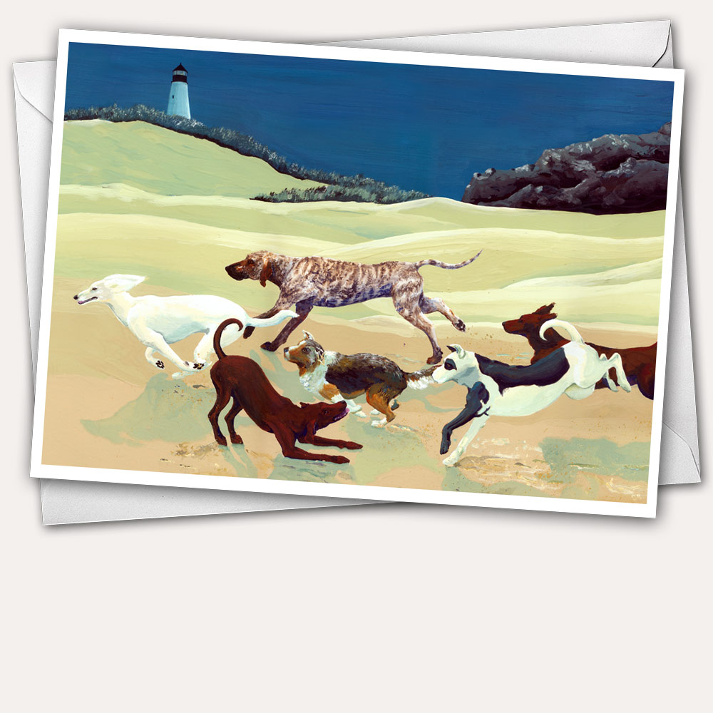 dog pack, dog running, afghan hound, brindle hound, dog playing, dogs on beach, dog paintings