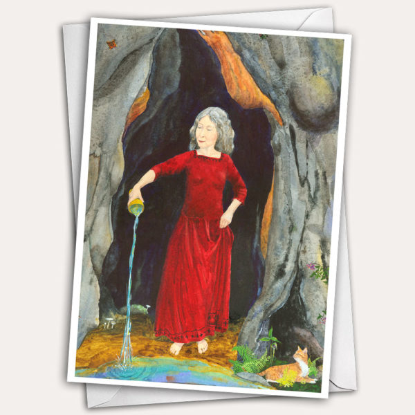 Crone, Wisewoman greeting card, goddess greeting card, Woman pouring water, woman with cat, cat greeting card