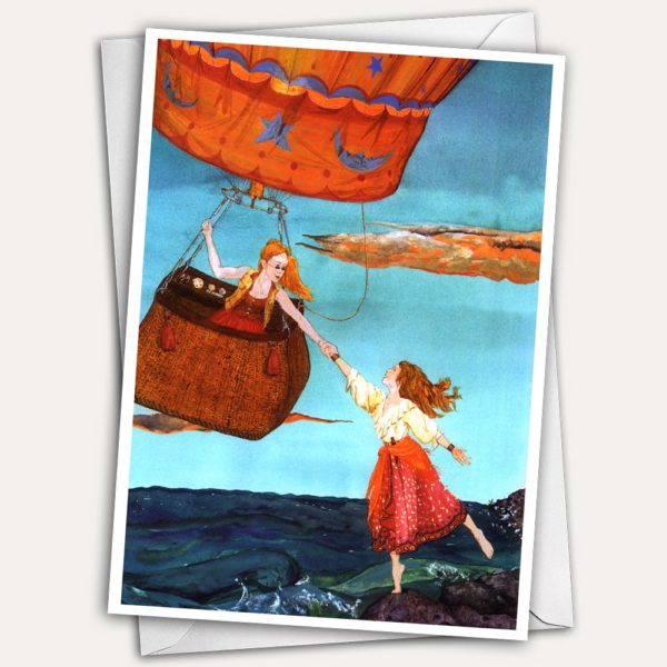 Women in Hot Air Balloon, Pirate women, Female adventure, Women's adventure, Lesbian adventure, Romantic Lesbian, steampunk women in hot air balloon, hot air balloon greeting card, lesbian valentine card,