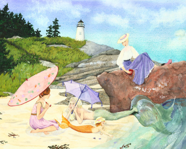 Mermaid print, edwardian ladies, Maine mermaids, mermaid with parasol, lady with parasol, mermaid on beach, little mermaid on beach, baby mermaid