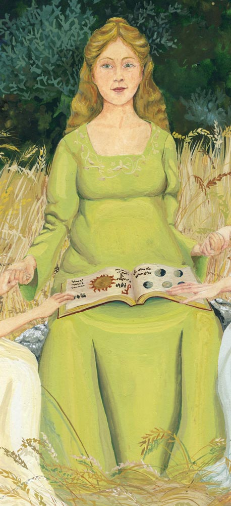 Goddess, Great Mother, Pregnant woman in medieval gown, book of life, woman with magic book, woman with mystic book, gaia