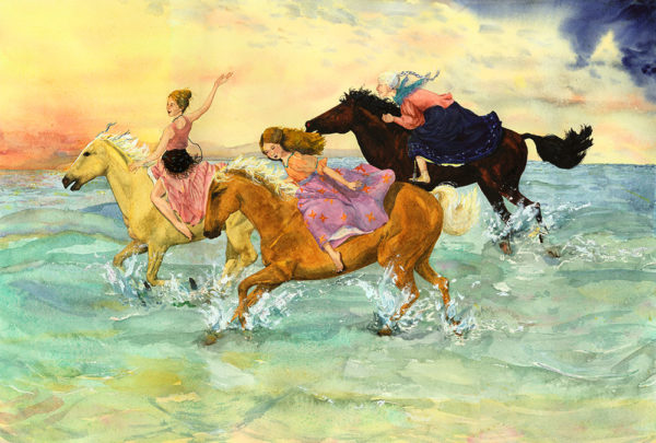Gypsy women riding, mother daughter grandmother print, horse print, horses in surf, gypsy horses on beach, horse painting, women riding horses on beach