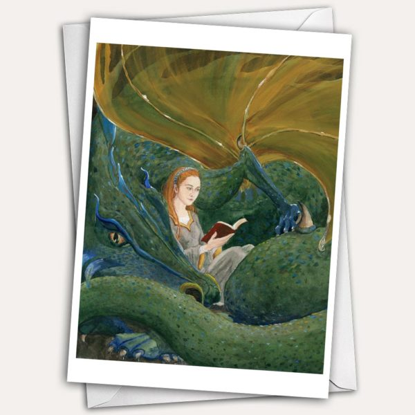 dragon, dragon greeting card, dragon birthday card, librarian birthday card, woman reading, woman with dragon, sleeping dragon, dragon friend, medieval woman, woman reading