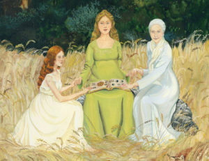 Goddess art, crone art, Wiccan art, pagan art, three generations of women, pregnant goddess art