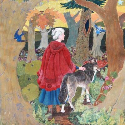 subversive fairy tale print, feminist fairy tale print, little red riding hood print, wolf print, red cloak, forest scene print, feminist print, magical realism print, oak forest, magic forest, Goddess art, Jen Greta Cart
