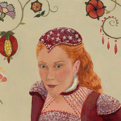 Elizabethan woman's face, woman in cap, elizabethan dress, flower embroidery
