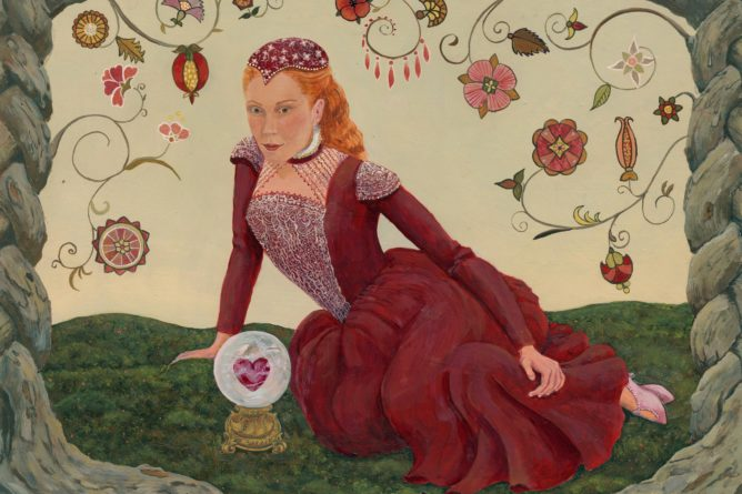 Elizabethan dress, woman with crystal ball, fortune teller, Elizabethan flower embroidery, red dress, crystal ball, valentine, red haired woman