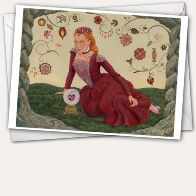 Red velvet Elizabethan court dress, Elizabethan flower embroidery, and a crystal ball with heart make this a lovely card for Valentines day.