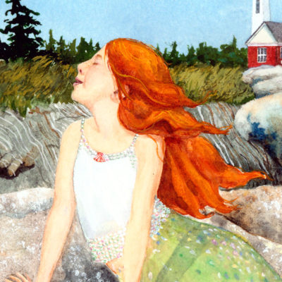 little mermaid, Maine mermaid, little red haired girl, red head, mermaid watercolor