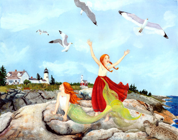 Little Girl Mermaid print, little mermaid print, Maine fantasy print, Maine art, Mermaid art, mermaid painting, Pemaquid Lighthouse, Pemaquid Point Maine, Seagulls