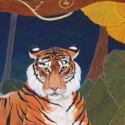 egg tempera tiger painting, tiger painting,