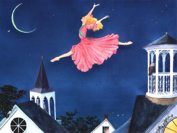 ballet, fairy, ballet fairy, grand jeté, summer night, owl painting, fairy painting, fairy print