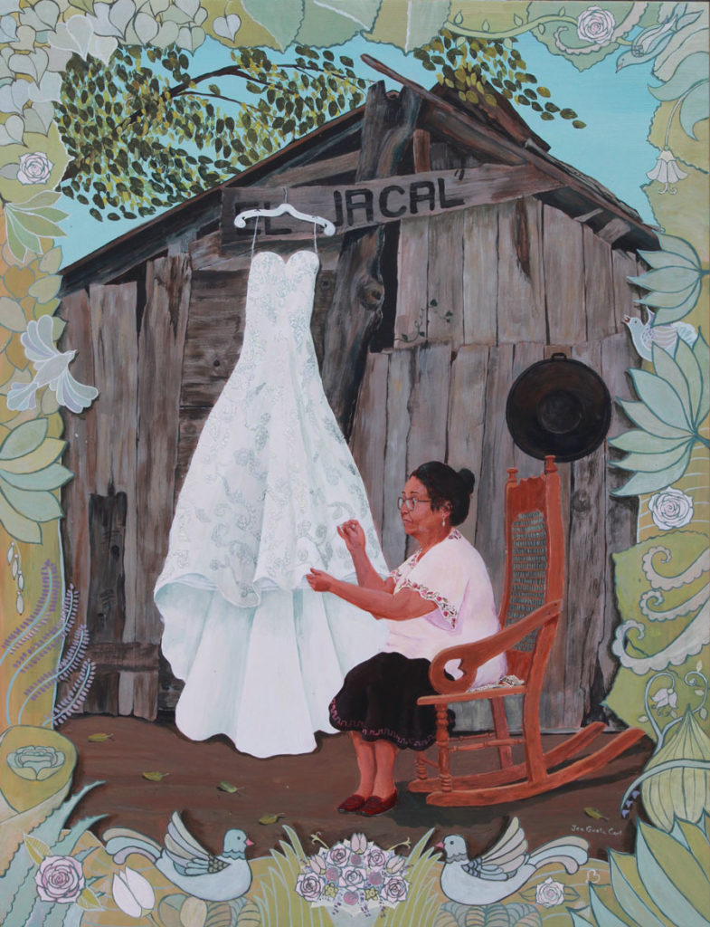 Woman sewing wedding dress, Mexican mother in law sewing wedding dress, woman in rocking chair, mother in law portrait, painted flower boarder, portrait of older woman
