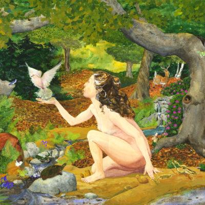 Goddess art, great mother, creation painting, creation myth art, nude woman kneeling, nude goddess kneeling, clay sculpting, Goddess sculpting animals, woman sculpting, woman sculpting animals
