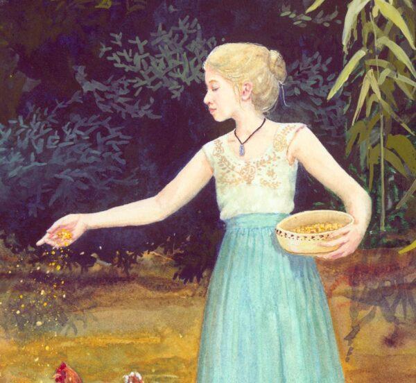 Beautiful blond fairy tale girl, blond fairy tale girl feeding chickens