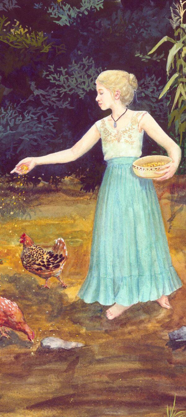 girl feeding chickens, chicken watercolor, girl and chickens watercolor, pretty chickens, pretty hens