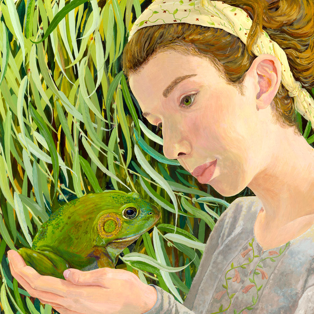 feminist fairy tale, kiss a toad, princess and the toad, girl with frog, girls with bullfrog, magical frog, magic toad, enchanted prince, enchanted toad, enchanted frog. egg tempera portrait