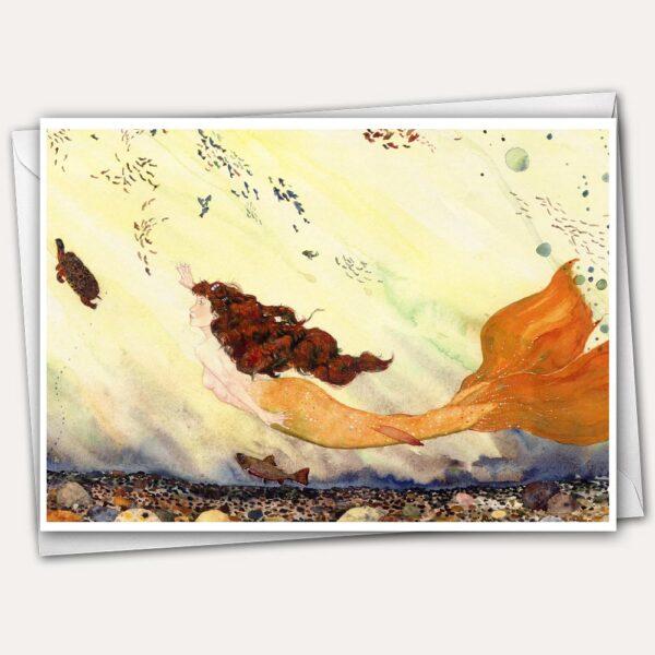 mermaid greeting card, river mermaid greeting card, mermaid swimming, mermaid painting, mermaid with auburn hair, mermaid swimming with fishes, mermaid with turtle