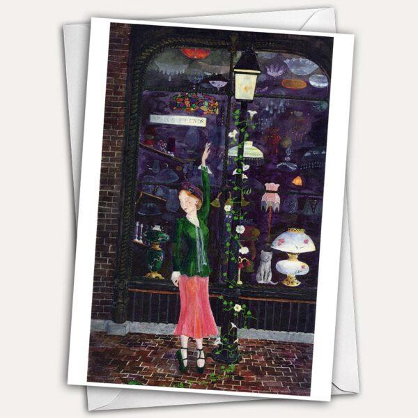 Ballet, magical night scene, antique lamps, ballet greeting card, Gloria Grahame, ballet dancer on night street, woman by streetlamp