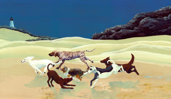 dog pack, afghan hound, Plott coon hound, dogs on beach, dogs running, dog running, afghan hound running, friendly dogs, dog print, dog painting, afghan hound painting
