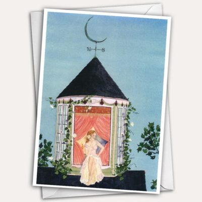 painted lady victorian house, cupola with moon weathervane, moon weathervane, pretty woman on roof, pretty greeting card, woman in the window