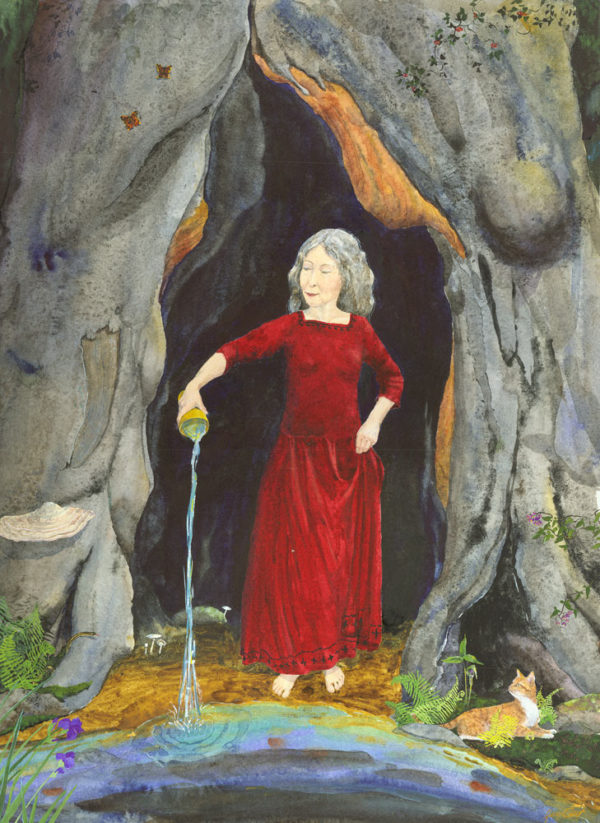 Wisewoman print, wisewoman painting, wisewoman, crone, crone painting, Goddess Painting, Goddess art, old woman, older woman, magical realism crone painting, woman in red dress, old woman in red dress, red dress, feminist art, feminist crone painting, Croning gift