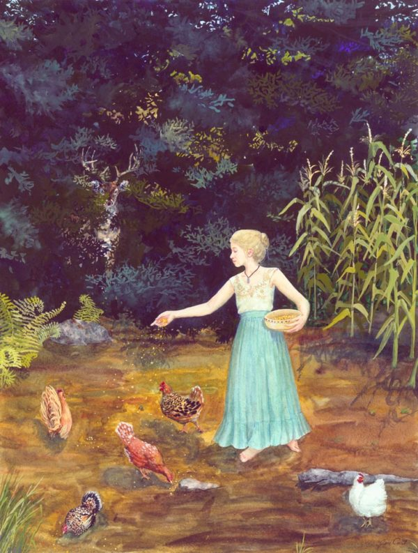 girl feeding chickens, chicken painting, chicken print, girl scattering corn for chickens, girl scattering corn for hens,
