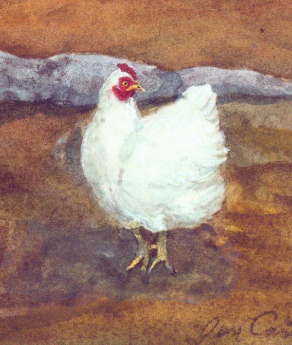 white hen watercolor detail