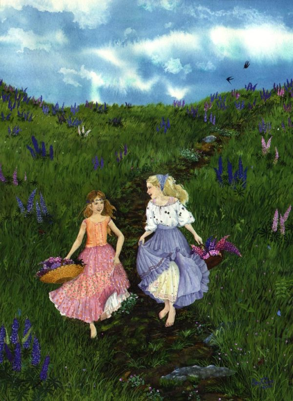 Girls with baskets of Lupines, girls in petticoats, girls in fluffly skirts, girls in peasant style dresses, gathering lupines