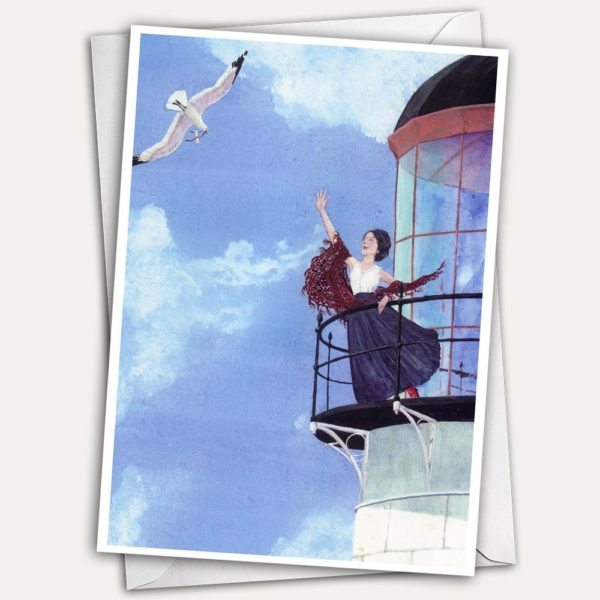 Seagull with message, flying grey gull, woman on lighthouse balcony, woman waving from lighthouse, Jen Greta Cart painting, woman in shawl and skirt, woman with messenger bird, maine lighthouse